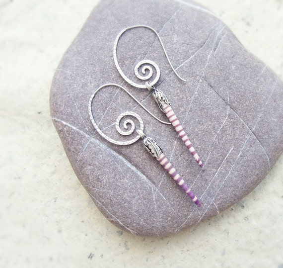 Sea Urchin Collection - Stripey Sea Urchin Spine Earrings