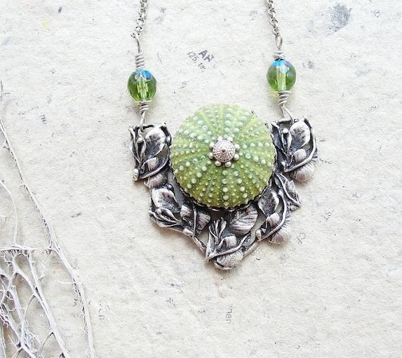 Sea Urchin Necklace - Green Art Nouveau Style Necklace