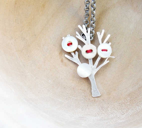 The Button Tree Necklace - Silver plated, mother of pearl buttons