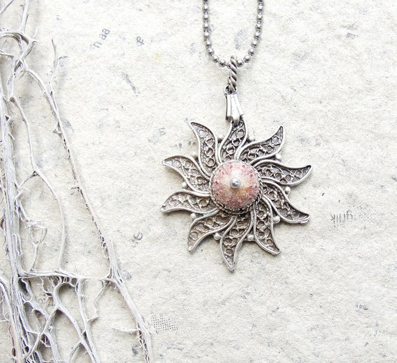 Sea Urchin Collection - Special Pink Filigree Necklace (Ooak)