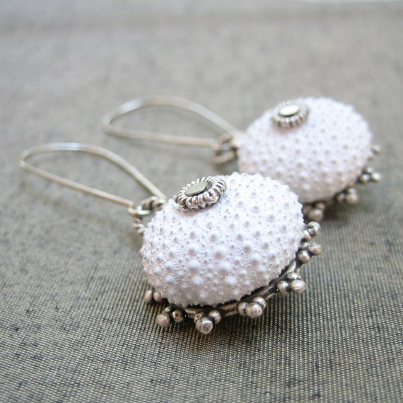 Sea Urchin Collection - Special White Earrings