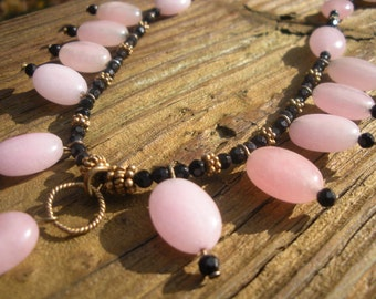 CLEARANCE SALE Pink Jade Black Onyx unique handmade designer necklace OOAK
