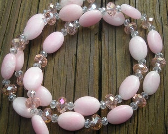 Pink Jade designer necklace OOAK encourages love, wealth and protection