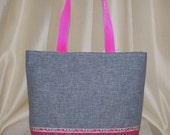 Ramblin Rose Upcycled Pink and Salvaged Gray Tote with Rose Ribbon Trim