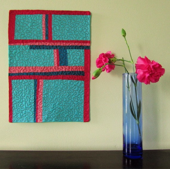 Decorative Textile Art - Mini Quilt - Wall Hanging or Small Table Runner - Modern Art Quilt in Blue and Pink
