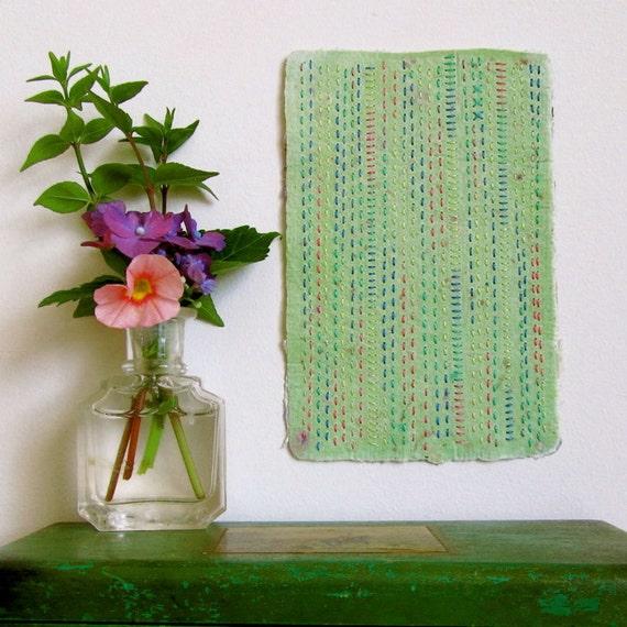 Wall Decor, Hand Stitched Handmade Paper, Wall Art