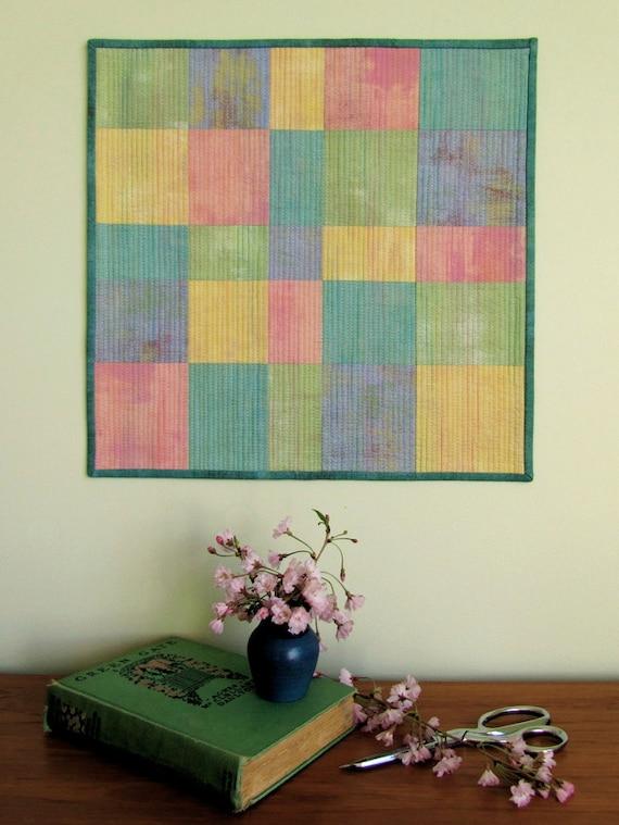 Mini Art Quilt - Wall Hanging - Modern Patchwork Art Quilt - Textile Art - Fiber Art - Wall Decor