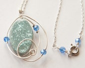 Blue Shimmer Polymer Clay Silver Spiral Necklace, Gifts under 20