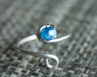 Marine Blue Crystal Toe Ring, Gifts under 10