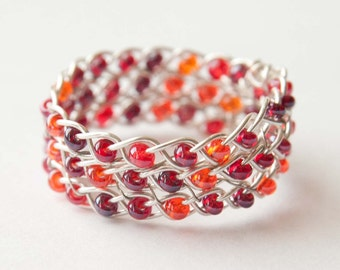 Ruby Red and Silver Braided Ring, Celtic Jewelry, Wire Wrapped Ring