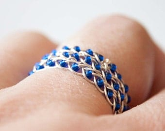 Sapphire Blue and Silver Braided Ring, Celtic Jewelry, Wire Wrapped Ring