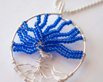Sapphire Tree of Life Necklace, Silver Wire Wrap Jewelry, Gifts under 20
