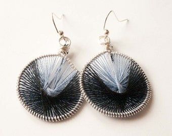 Black and Light Blue Peruvian Thread Earrings, Gifts under 20