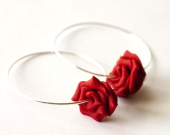 Red Rose Hoops, Polymer Clay Rose, Bridesmaid Jewelry