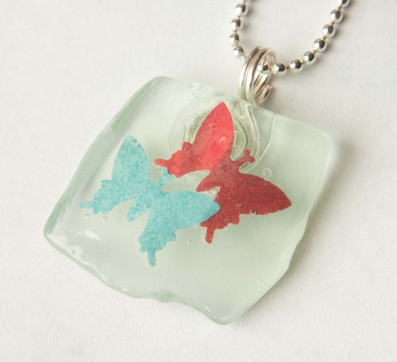 Red and Blue Butterfly Pendant, Seaglass Necklace, Recycled Glass