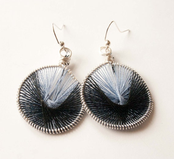 Clearance, Black and Light Blue Peruvian Thread Earrings, Gifts under 20