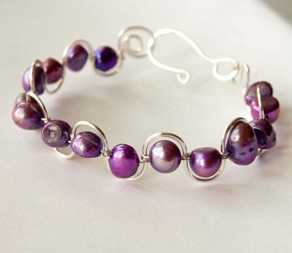 Purple Passion Pearl Wave Bracelet, wedding, bridal, gifts under 20, black friday, cyber monday
