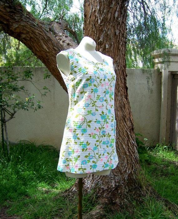 Go-Go in the Garden vintage 60s mini shift dress