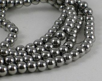 Glass Bead CLOSEOUT SALE (GB34) 6mm Silver Metallic Glass Beads 50 Beads Single Strand