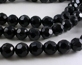"""Glass Beads (GB45) 12"""" strand about 32 Beads 10mm Faceted Round Opaque Solid Black Glass Beads for Jewelry Making and Crafts"""
