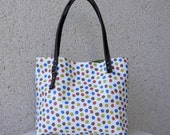 The Simplicity - Asymmetric Leather Handles Tote in Light Canvas Japanese Fabric