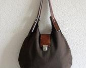 Callia - Canvas and Leather Hobo Bag