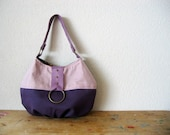 Auvenier Bag with Leather in Linen and Organic Purple Canvas