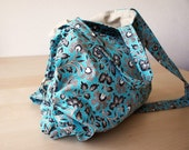 Amelie Slouchy  Bag  with Adjustable Strap and Double Handles in Turquoise Batik
