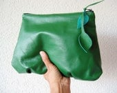 Leather Clutch - Amelie in Kelly Green Italian Leather