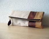 The Clutch in Italian Leather and Beige Linen - Indie Patchwork Series - Christmas in July SALE