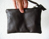 Leather Pouch - Italian Leather in Dark Chocolate Colour