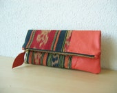 Ikat and Leather Clutch in Cow Leather and Handwoven Ikat Fabric - Indie Patchwork Series - NEW