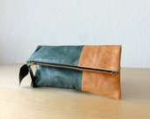 Leather Clutch in Dark Green and Salmon Colour  Italian Leather