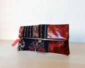 Ikat and Leather Clutch in Italian Red Patent Leather and Handwoven Ikat Fabric - Indie Patchwork Series