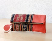 Ikat and Leather Clutch in Orange Cow Leather and Handwoven Ikat Fabric - Indie Patchwork Series