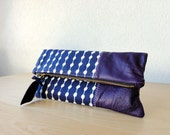 Leather Clutch in Dark Purple Italian Leather and Indigo European  Canvas - Indie Patchwork Series