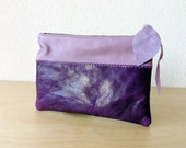 Leather Clutch - Leather Wallet in Dark Purple and Lavender Italian Leather - New Indie Patchwork Series