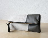 Leather Clutch in Misty Grey Cow Leather and Upholstery European Natural Linen - Indie Patchwork Series