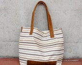 The Large Tote in Brown Cow Leather and French Stripes Canvas - A Perfect Beach Bag - Diaper Bag - Weekender Bag or Market Bag