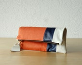 Leather Clutch in Italian Leather and Rust Linen - Indie Patchwork Series
