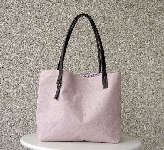 The Simplicity - Leather Handles Tote in Petal Pink Lithuanian Linen - NEW