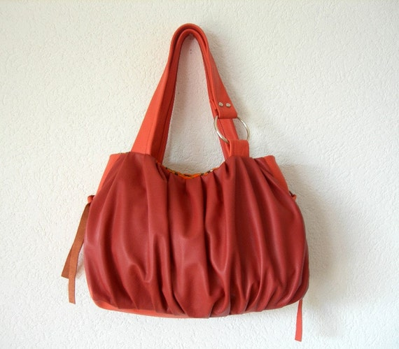 Pomegranate Pleated Leather Bag in Brick and Coral Colour