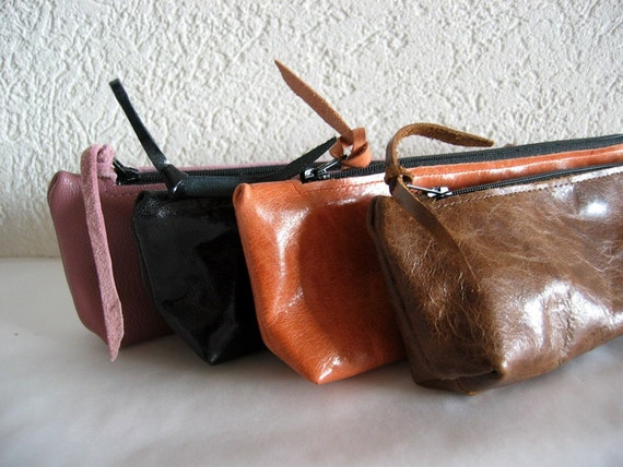 Leather Zipper Pouch - Distressed Brown Colour - Christmas in July Sale