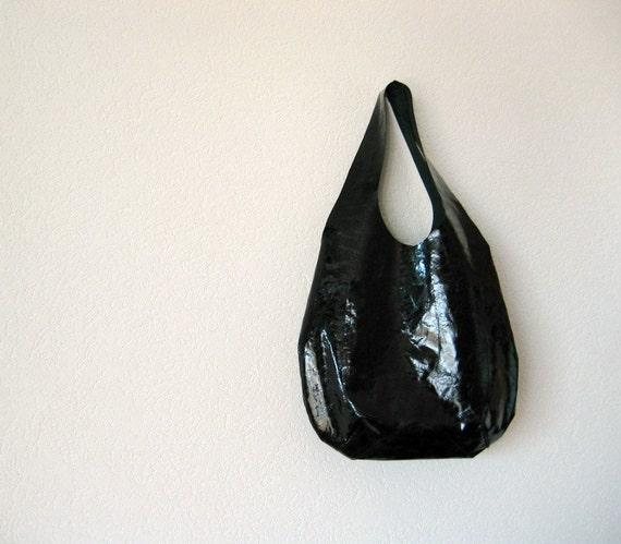 Hauterive Hobo Bag in Black Patent Italian Leather