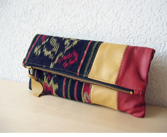 Leather Clutch in Italian Leather and Handwoven Ikat Fabric - Indie Patchwork Series