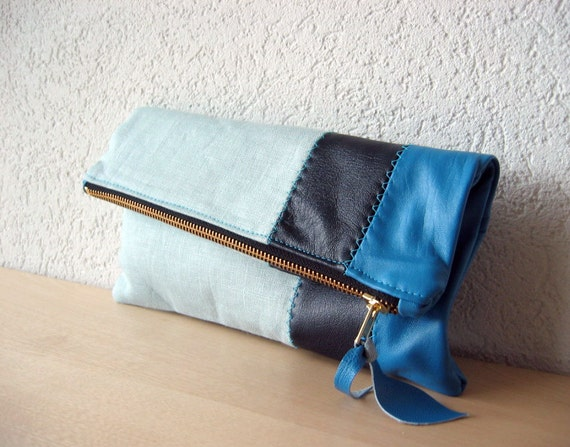 Leather Clutch in Italian Leather and Powder Blue Linen - Indie Patchwork Series