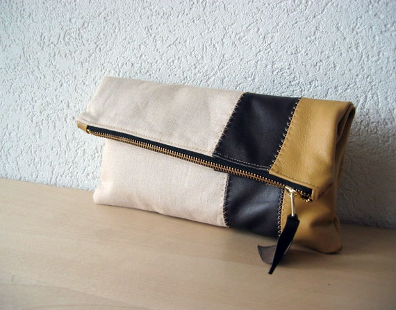 Leather Clutch in Italian Leather and Beige Linen - Indie Patchwork Series