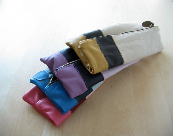 Bridesmaids Italian Leather and Linen Wedding Clutches - Set of 4 - Made To Order - Free Shipping