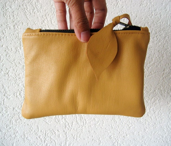 Leather Pouch -  Italian Leather in Camel Colour