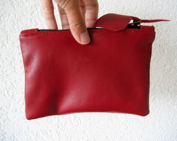 Leather Pouch - Italian Leather in Red Colour